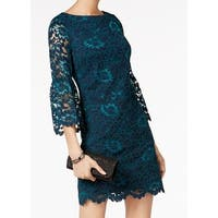 Jessica Howard Green Womens Size 6 Lace Bell Sleeve Sheath Dress