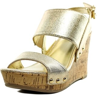 Material Girl Mmona Women Open Toe Synthetic Gold Wedge Heel