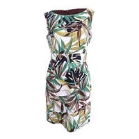 Connected Women's Floral-Print Tiered Sheath Dress (6, Green) - Green - 6