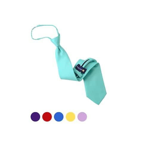 Men's Solid Color Pre-tied Zipper Neck Tie - One Size