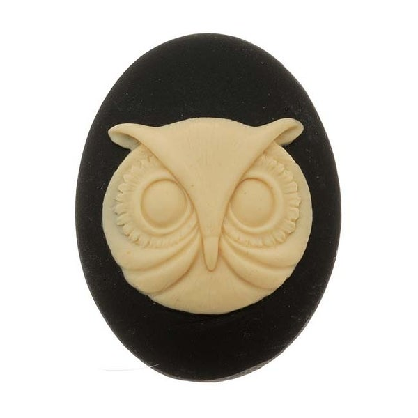 Vintage Style Lucite Oval Cameo Black With Beige Owl Face 40x30mm (1 Piece)