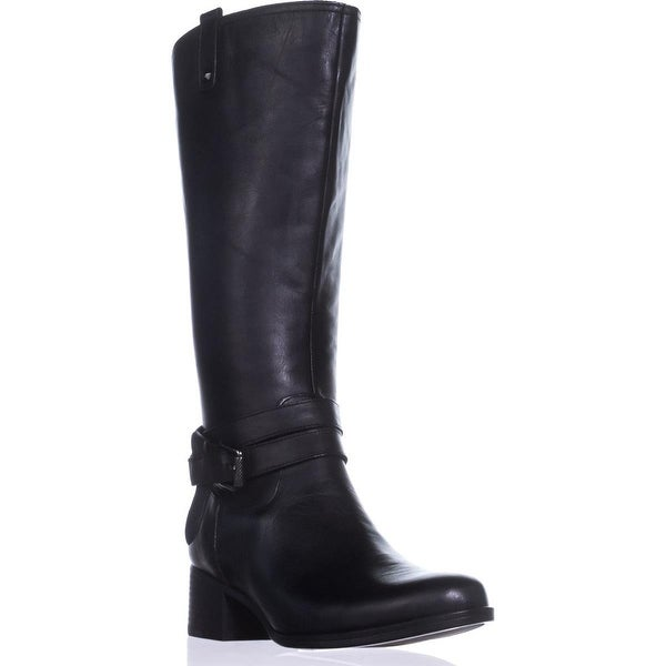 naturalizer Dev Wide Calf Riding Boots, Black