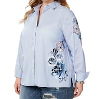 INC Blue Womens Size 3X Plus Embroidered Striped Button Down Shirt