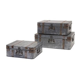 Set of 3 Galvanized Metal Industrial Suitcase Storage Boxes 14- 18- 21