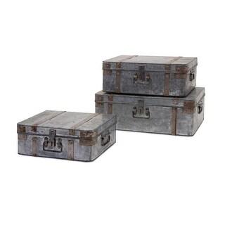 Set of 3 Galvanized Metal Industrial Suitcase Storage Boxes 14- 18- 21