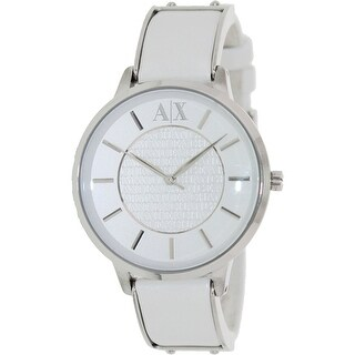 Armani Exchange Women's AX5300 White Leather Analog Quartz Fashion Watch