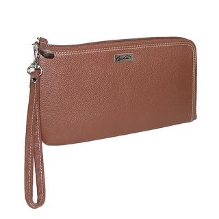 Buxton Women's Leather RFID L-Zip Wallet with Removable Wrist Strap - One size