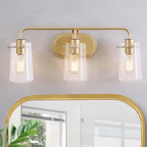 "Modern 3-light Gold Bathroom Vanity Light Seeded Glass Sconces - L22.5""xW5.5""x H 9"""