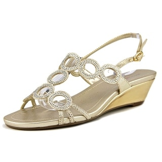 Bandolino Gia Women Open Toe Canvas Gold Wedge Sandal
