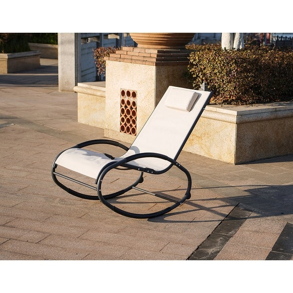 Moda Sunshine Iron Oval Base Rocking Lounge Chair Single with Pillow-Beige. Opens flyout.