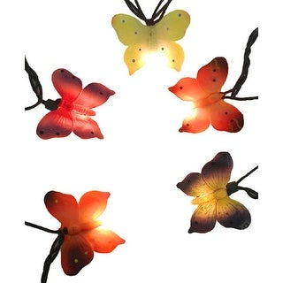 Set of 10 Multi-Color Butterfly Novelty Christmas Lights - Green Wire