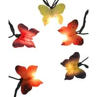 Set of 10 Multi-Color Butterfly Novelty Christmas Lights - Green Wire - multi