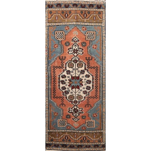 "Geometric Anatolian Turkish Oriental Runner Rug Wool Hand-knotted - 1'5"" x 3'7"""