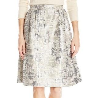 Calvin Klein NEW Tangold Silver Womens Size 8 Jacquard A-Line Skirt