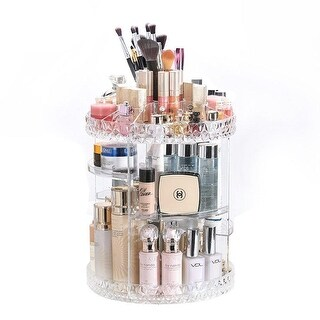 "Kanstar 14"" Acrylic Cosmetic Makeup and Jewelry Storage Display 360 Rotating Makeup Organizer (clear)"