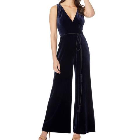 Eliza J Women's Jumpsuit Navy Blue Size 8 Velvet Belted Wide-Leg