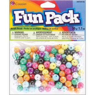 Fun Pack Acrylic Round Beads 1.1oz-Assorted W/Rhinestones