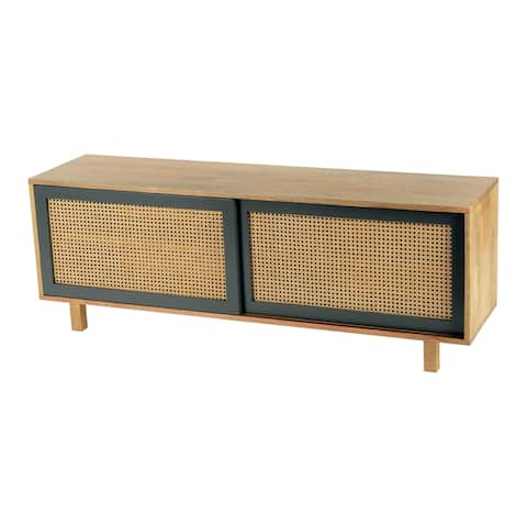 Aurelle Home Matt Lacquer Natural Mango Wood TV Console - 55 inches