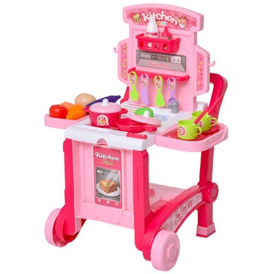 Qaba Kids Toy Pretend Play Kitchen Set Role Play with a Unique 3-in-1 Design, 42 Accessory Pieces, & Child-Safe Material