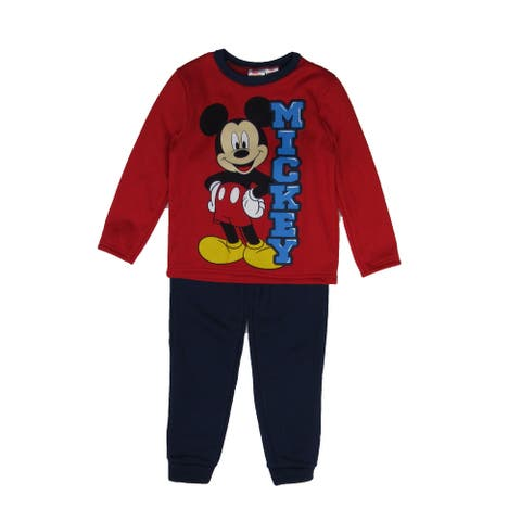 Disney Red Mickey Mouse Print Sweatshirt 2 Pc Jogger Set Little Boys