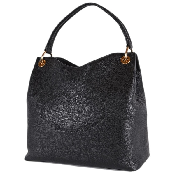3cace6f75bfa Prada 1BC051 Black Leather Vitella Daino Embossed Logo Handbag Purse Tote