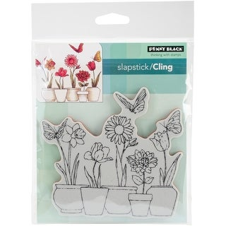 """Penny Black Cling Stamps 5""""X7""""-Potted Flowers"""