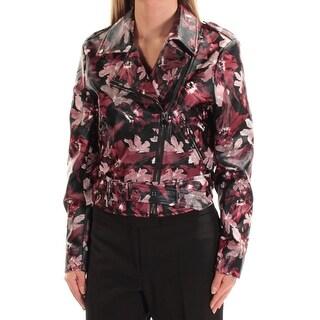 CATHERINE MALANDRINO $168 Womens New 1637 Maroon Black Floral Jacket 2 B+B