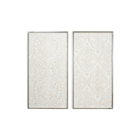 "Large Rectangular Distressed White Wood Wall Decor w Damask Patterns Set of 2 16.5""L x 1""W x 32""H each"