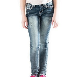 Grace in LA Denim Jeans Girls Skinny Bling Distressed Med Wash