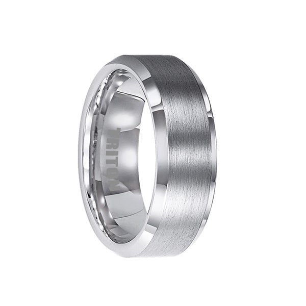 ATWATER Flat Tungsten Ring with Brushed Center and Polished Beveled Edges by Triton Rings - 8mm