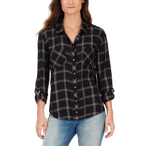 William Rast Womens Button-Down Top Plaid Adjustable Sleeves