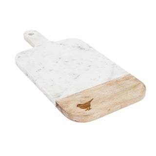 """16"""" White and Brown Decorative Charming Songbird Cutting Board with Handle"""