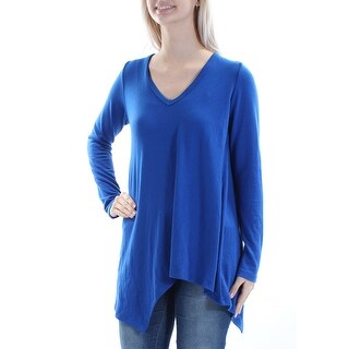 Womens Blue Long Sleeve Scoop Neck Casual Trapeze Sweater Size S