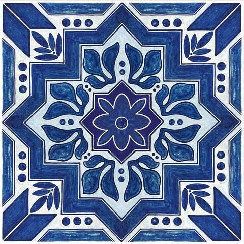 "Floor Adorn Adhesive Decorative and Removable Vinyl Floor Appliques, Dark Blue Moroccan, 12""x12"", Set of 36 Appliques"