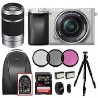 Sony Alpha a6300 Camera (Silver) with 16-50mm and 55-210mm Lens Bundle