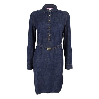 Tommy Hilfiger Women's Belted Denim Shirtdress (Dark Wash, S) - s