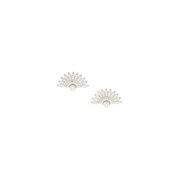 925 Sterling Silver Feather Semi Circle Stud Earrings with Cubic Zirconia