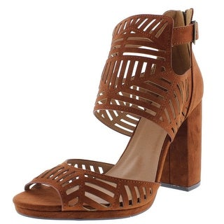 Qupid Womens Ellie Faux Suede Laser Cut Dress Sandals