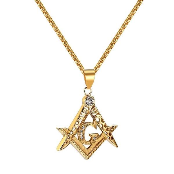 Freemason Masonic G Pendant Chain Lab Diamonds Gold Tone Stainless Steel