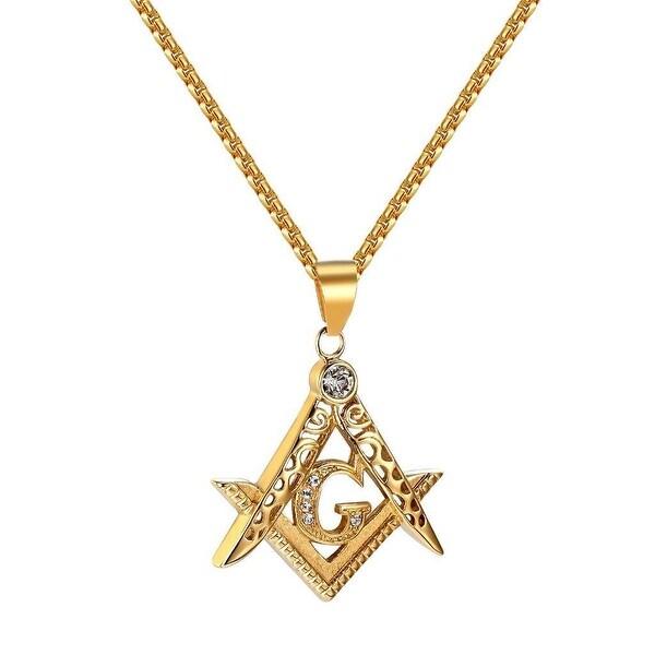 Masonic G Compass Pendant Necklace Freemason Lab Diamonds Stainless Steel