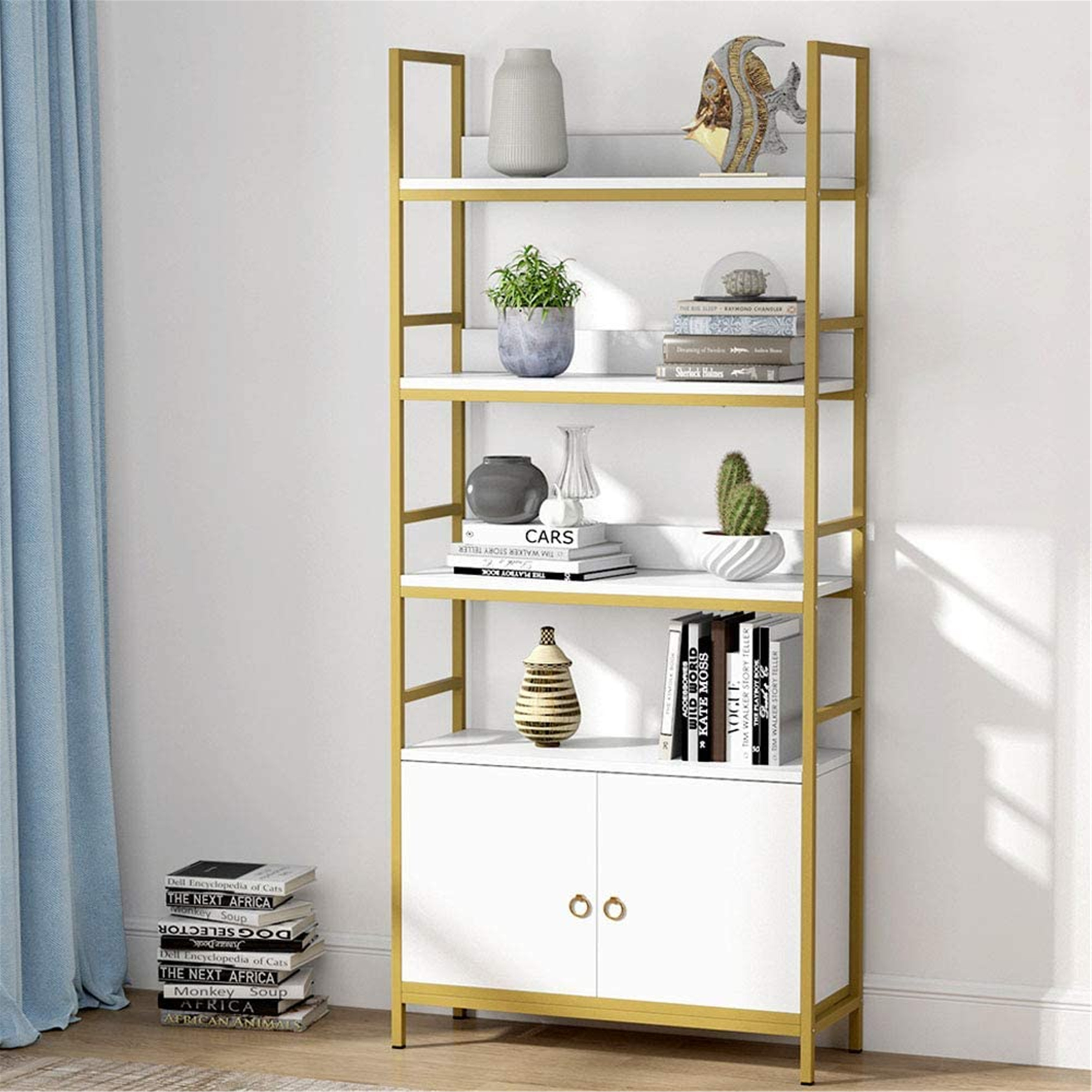 4 Tier Bookcase With Door White Etagere Standard Bookcase With Cabinet On Sale Overstock 30531537
