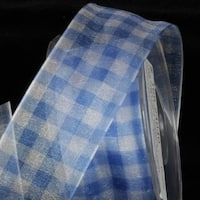 "Royal Blue Organza Plaid Wired Edge Craft Ribbon 1"" x 22 Yards"