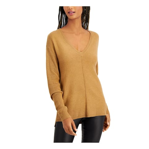 INC Womens Brown Long Sleeve V Neck Tunic Sweater Size XL