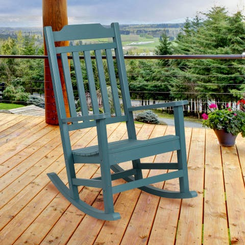 All-Weather Rocking Chair in Faux Wood - Patio and Backyard Furniture