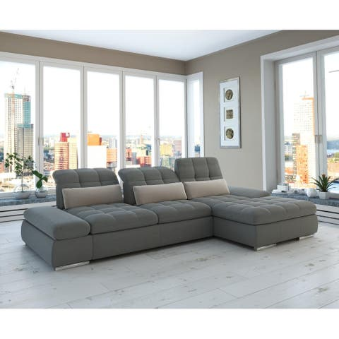 Barcelona 2pc Left Grey Sectional with storage and Sofa bed By Sofacraft