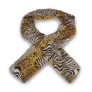 Multicolor Animal Print Scarf 13 Inches X 60 Inches Tan Brown White