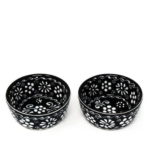 """Handmade Mexican Pottery Black Appetizer and Dip Bowls (Set of 2) - 3"""" x 2"""""""