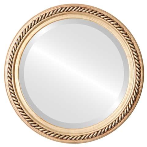 Santa Fe Framed Round Mirror in Antique Gold Leaf