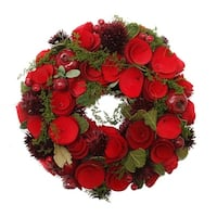 """10"""" Red Wooden Roses and Berries Artificial Christmas Wreath - Unlit"""