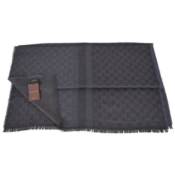 Gucci 282390 Large Blue Black Wool Silk GG Guccissima Logo Scarf Shawl